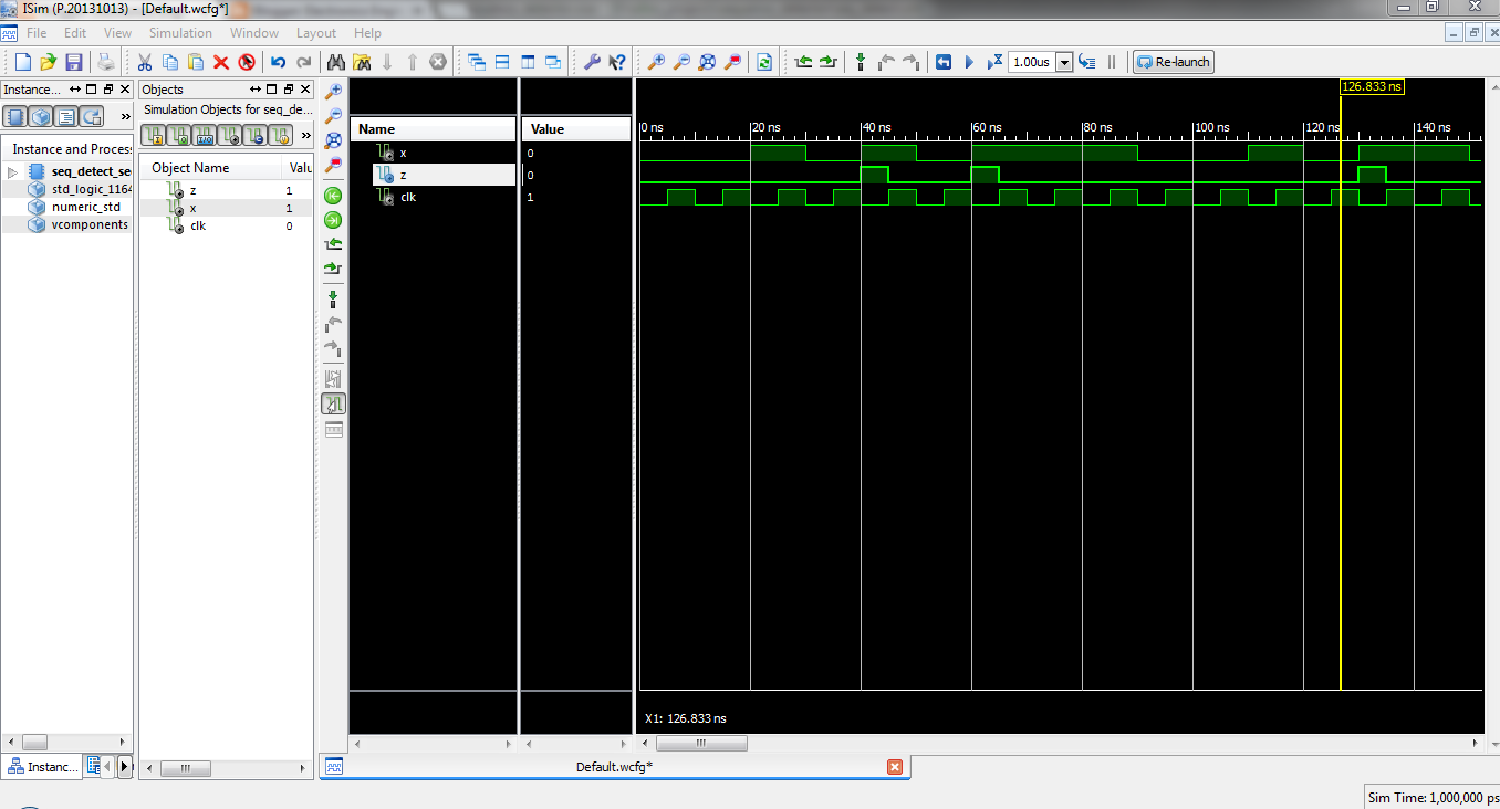sequence detection waveform xilinx