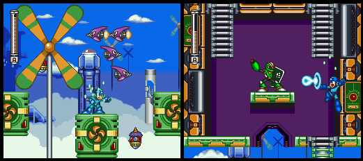 Screenshots of SNES game Mega Man 7. The titular character can be seen making his way through Cloud Man's stage.