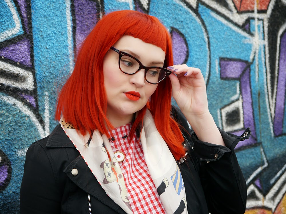 Blogging duo, Scottish blogging duo, Scottish bloggers, twin styling, red wig, ginger wig, cat eye glasses, Vintage Style Me gingham dress, Karen Mabon bull in a china shop scarf, H&M biker style jacket, Bonnie Bling name ring, Helen's style, Blog birthday, style challenge, Sugar & Vice cherry bakewell necklace