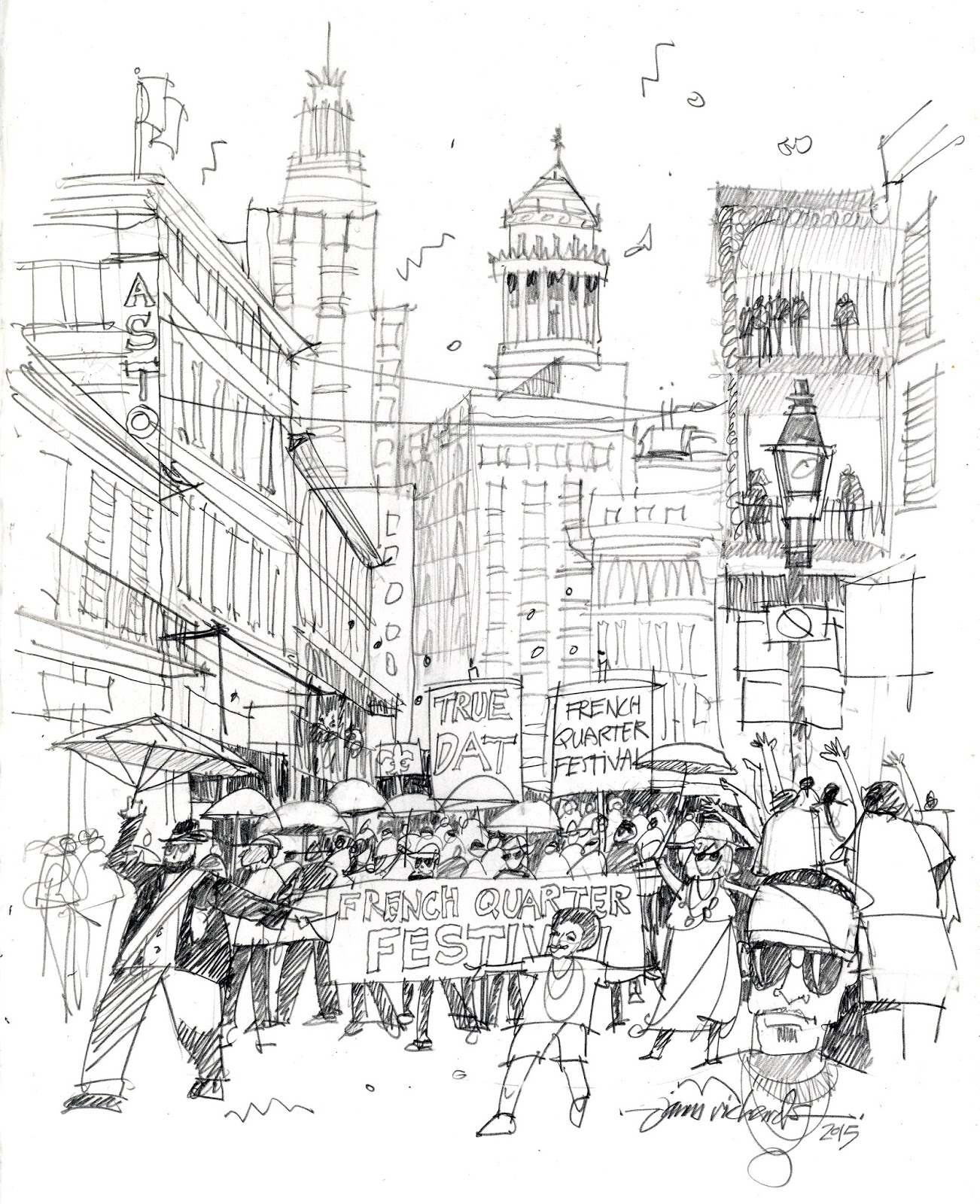 Buildings Drawn Before Parade Arrived Then Paraders Sketched In Quickly As They Passed