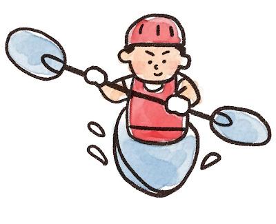 カヌーを漕いでいる人のイラスト(スポーツ)