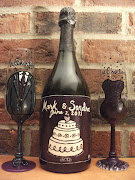 Hand Painted Wedding Glasses and Bottle