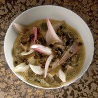 Foie Gras Soup with Lentil Gnocchi and Balsamic Onions