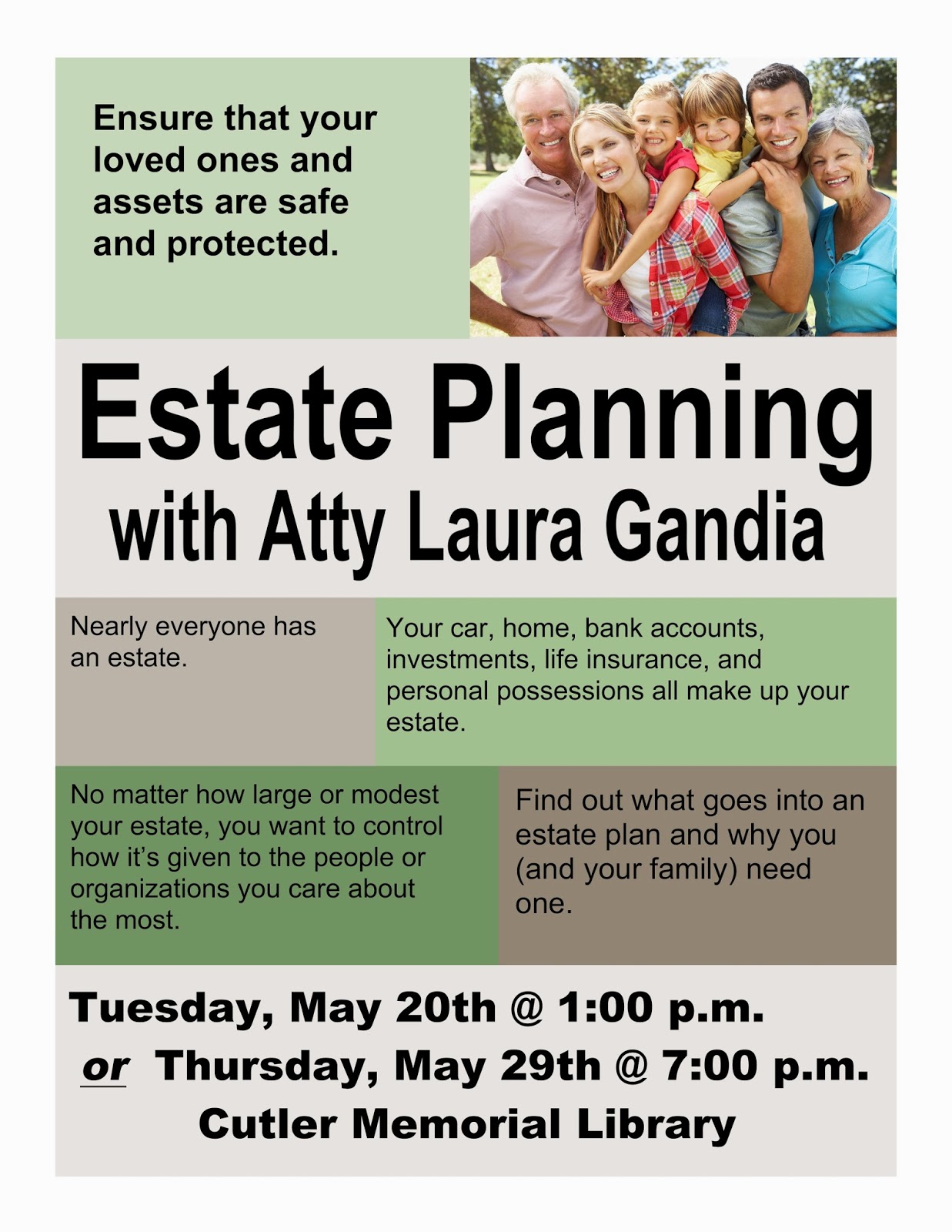 Estate Planning May 20 @ 1:00 or May 29 @ 7:00