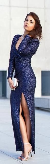 Sparkle Midnight Blue Maxi Dress