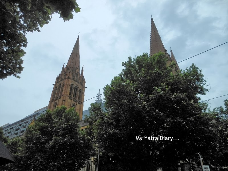 Partial view - St. Paul's church cathedral in Melbourne, Australia