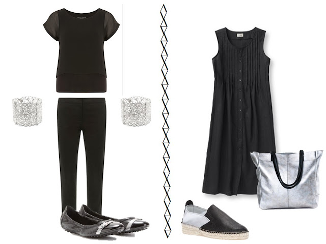 black tee and pants with silver cuffs and ballet flats and black dress with silver espadrilles and tote