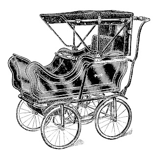 1913 Vintage Baby Carriage Image Transfer