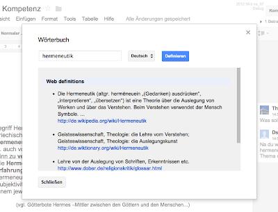 Screenshot der Funktion Wörterbuch innerhalb von Google Docs