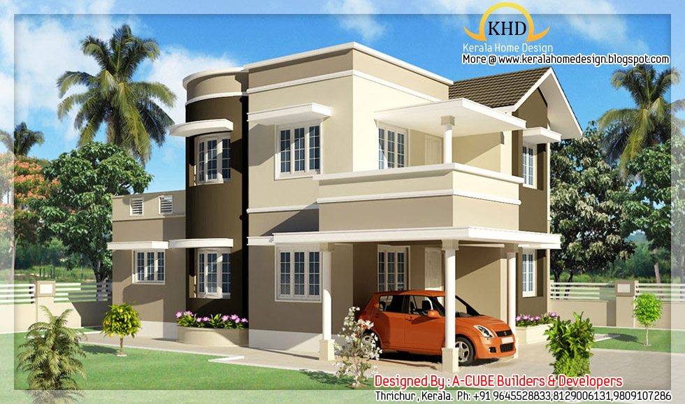 Duplex house elevation 1600 sq ft kerala home design for Types of duplex houses