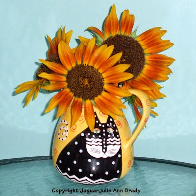 Last Sunflowers of Summer in a Vase