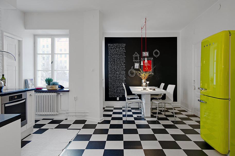 decoracao piso branco : decoracao piso branco:Black and White Retro Kitchen Floor