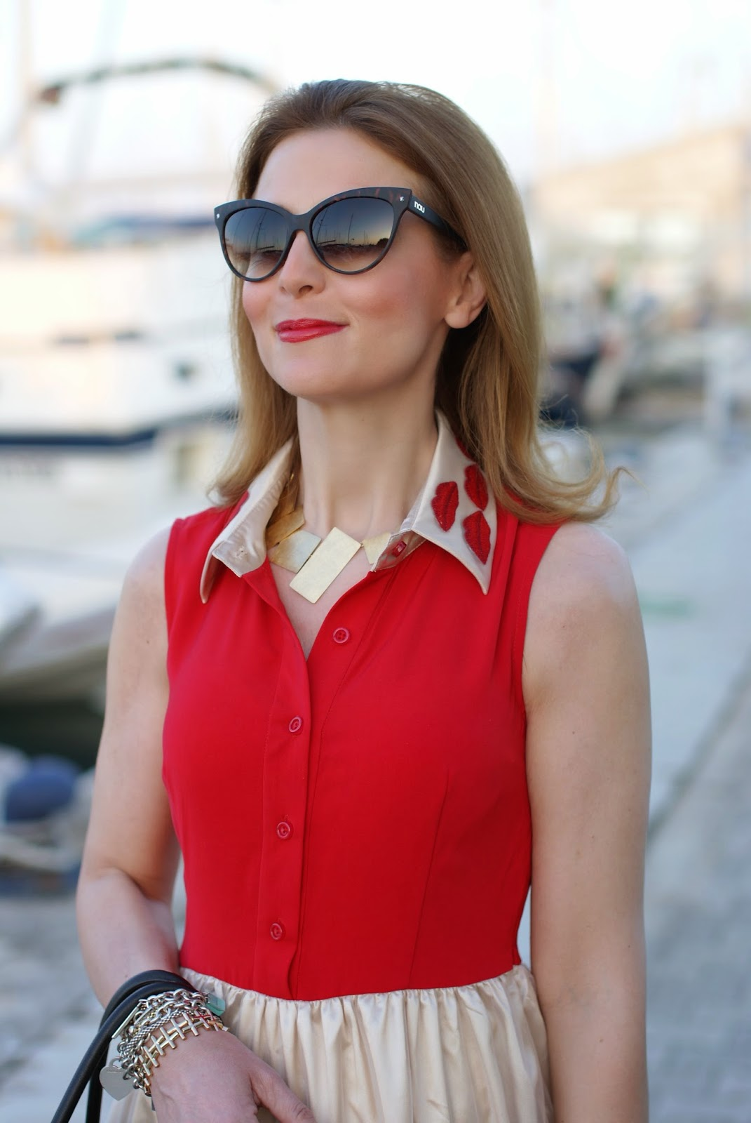 Vitti Ferria Contin necklace, NAU! sunglasses, red lips dress, MAC melba blush on face, Fashion and Cookies, fashion blogger