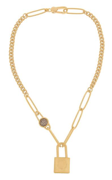 Collar dorado con candado y circonita cuadrada Marc by Marc Jacobs SS 2015
