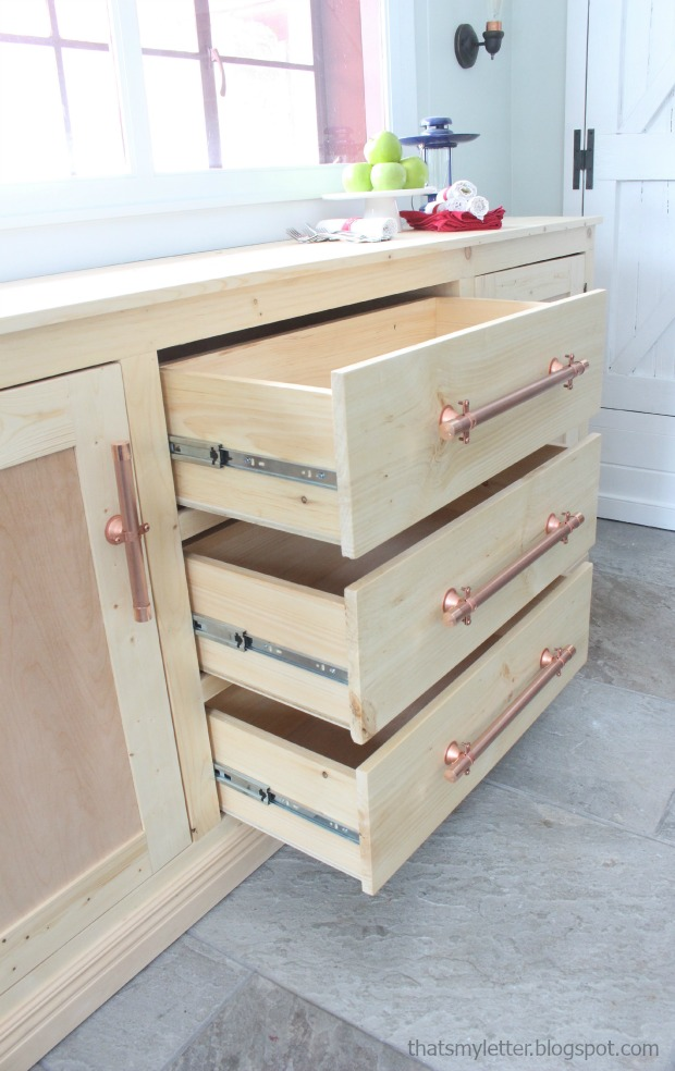 diy extra long sideboard with three drawers