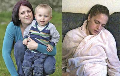 KELLY bersama anak lelakinya, Ronnie. Gambar kanan, Kelly terlelap secara tiba-tiba ketika duduk di sofa.