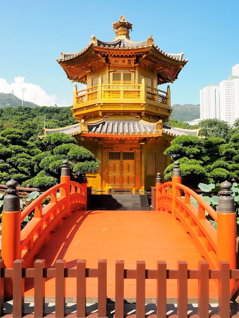 Chinese pavilion building in Nan Lian Gardens, Kowloon, Hong Kong