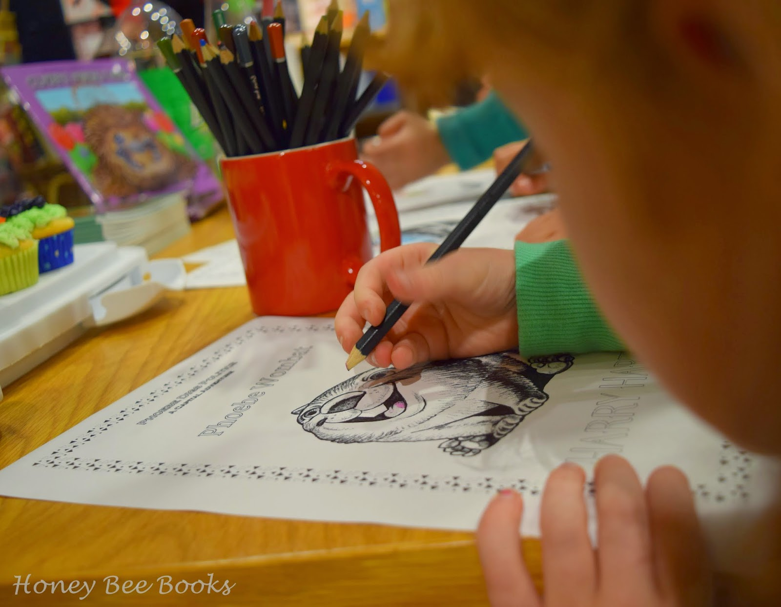 Colouring in at the book launch of Clyde's Prickly Ride