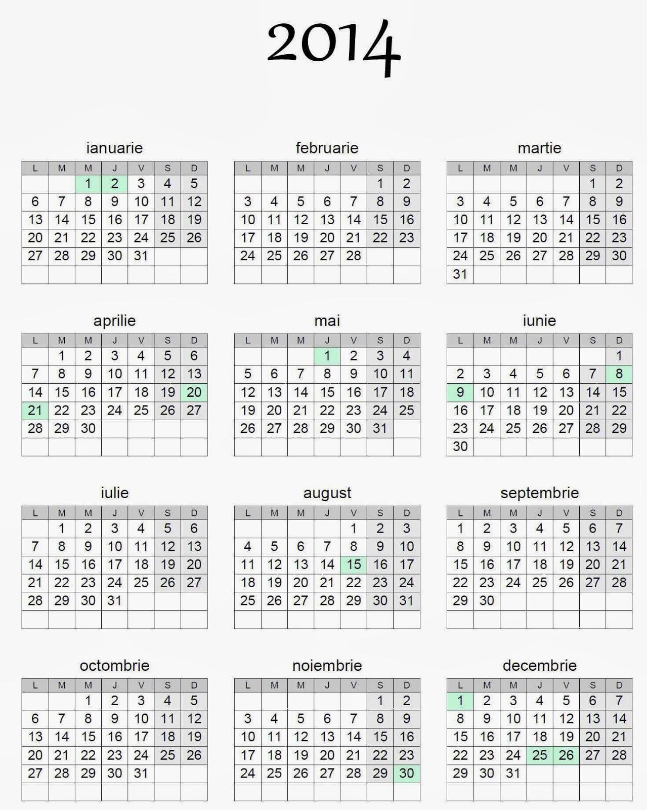 CALENDAR 2014 ROMANESC PRINTABIL DOWNLOAD