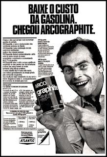 propaganda  óleo Arco Graphite - 1978;  reclame de carros anos 70. brazilian advertising cars in the 70. os anos 70. história da década de 70; Brazil in the 70s; propaganda carros anos 70; Oswaldo Hernandez;