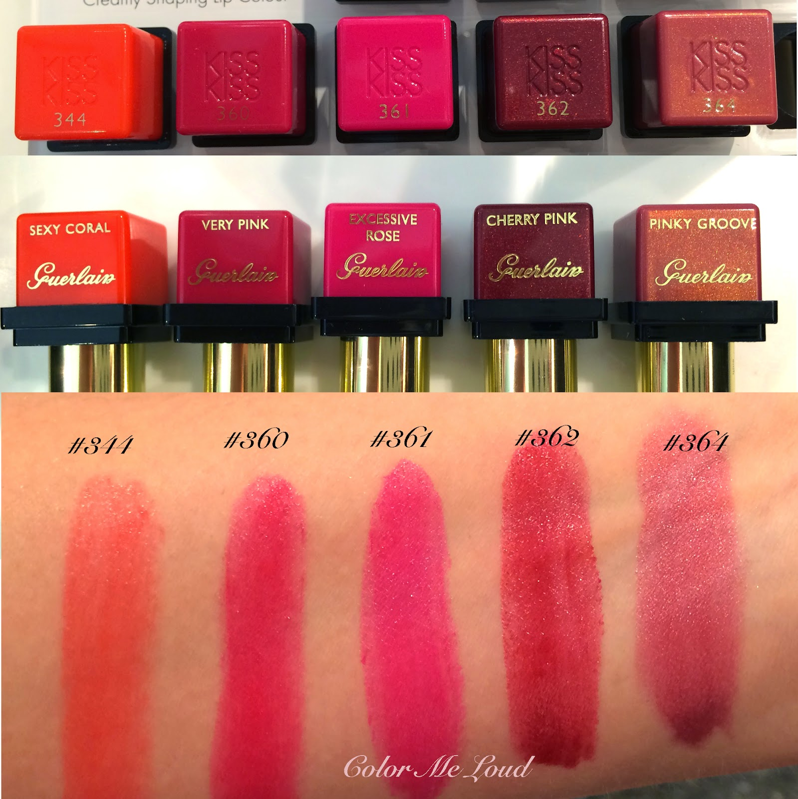 guerlain kiss kiss lipsticks swatches of all the shades color me loud