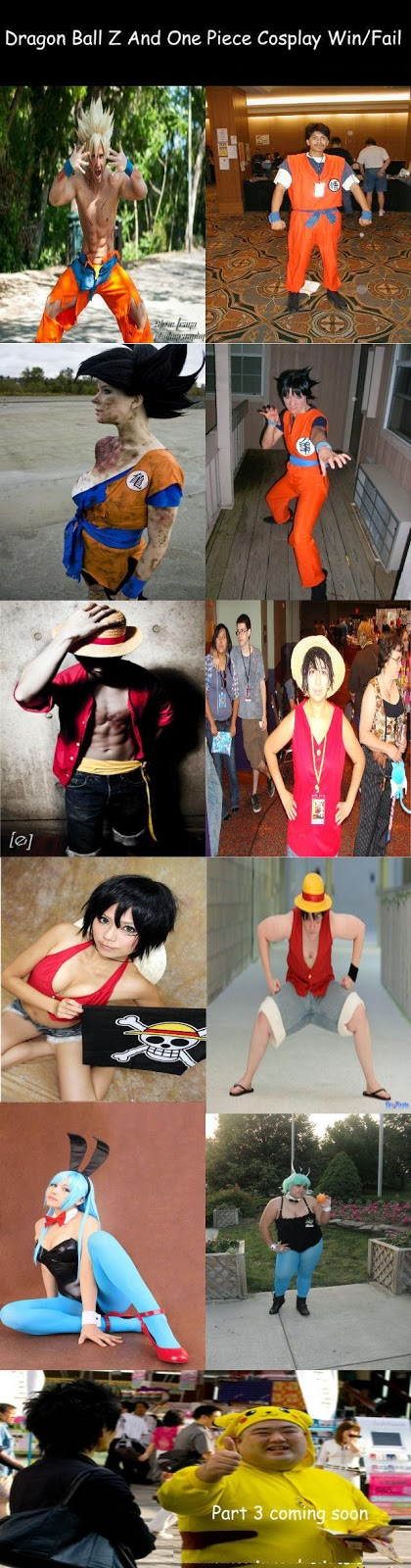 One Piece Dragonball Z Cosplay Win Fail Anime Meme