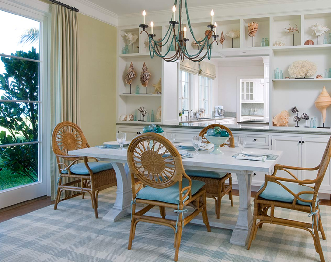 Blue and green dining room room design ideas for Beach dining room ideas