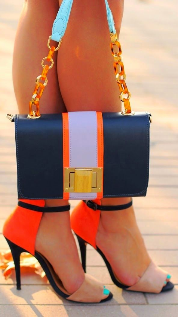 Lovely colorful heels and bag combo