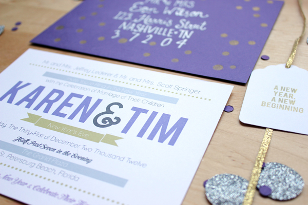 New Year's Eve wedding invitations by Holly Would Press