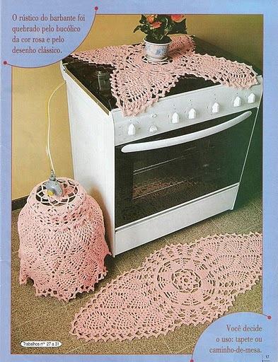 jogo de cozinha cor de rosa em croche este eu tirei de uma revista de