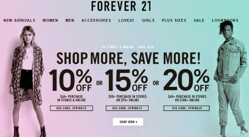 Get exclusive Forever 21 coupon codes & discounts when you join the Forevercom email list Ends Dec. 31, $39 avg order Put together a look that represents the season's hottest trends at Forever 21, the go-to outfitter for casual wear, fashion accessories and denim.