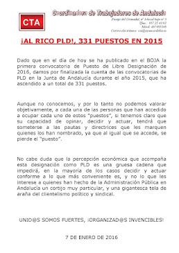 ¡AL RICO PLD!, 331 PUESTOS EN 2015