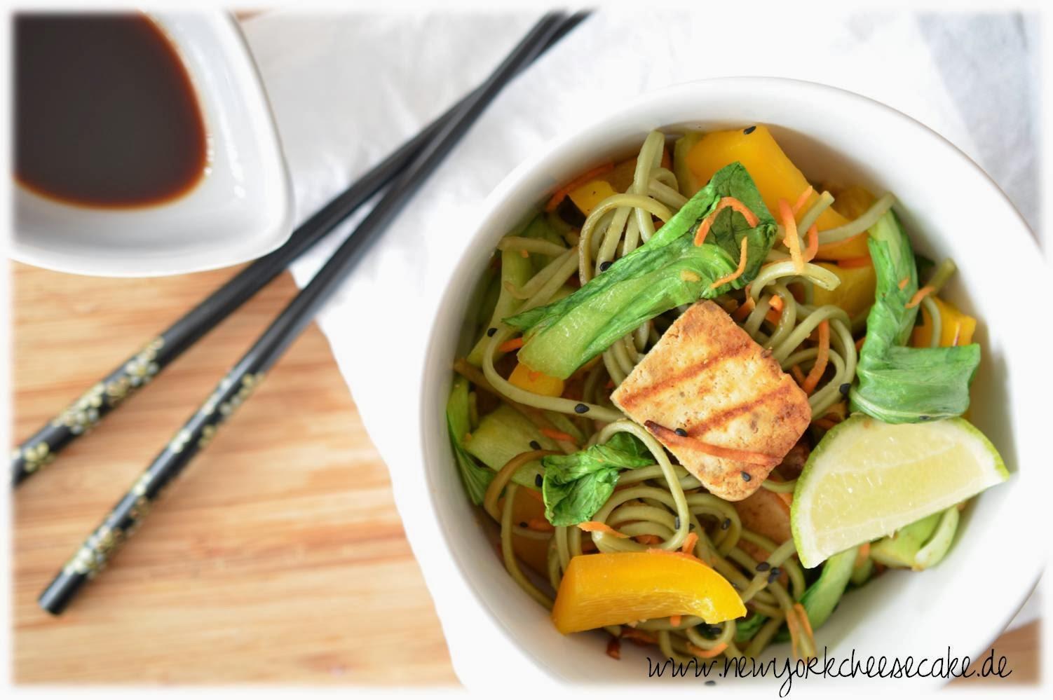 Asiatisch, vegan, tofu, soba