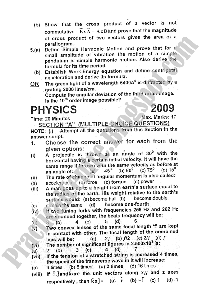Physics-2010-five-year-paper-class-XI