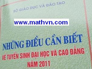 Nhung dieu can biet ve Tuyen sinh 2011, Nhung dieu can biet Tuyen sinh Dai hoc nam 2011