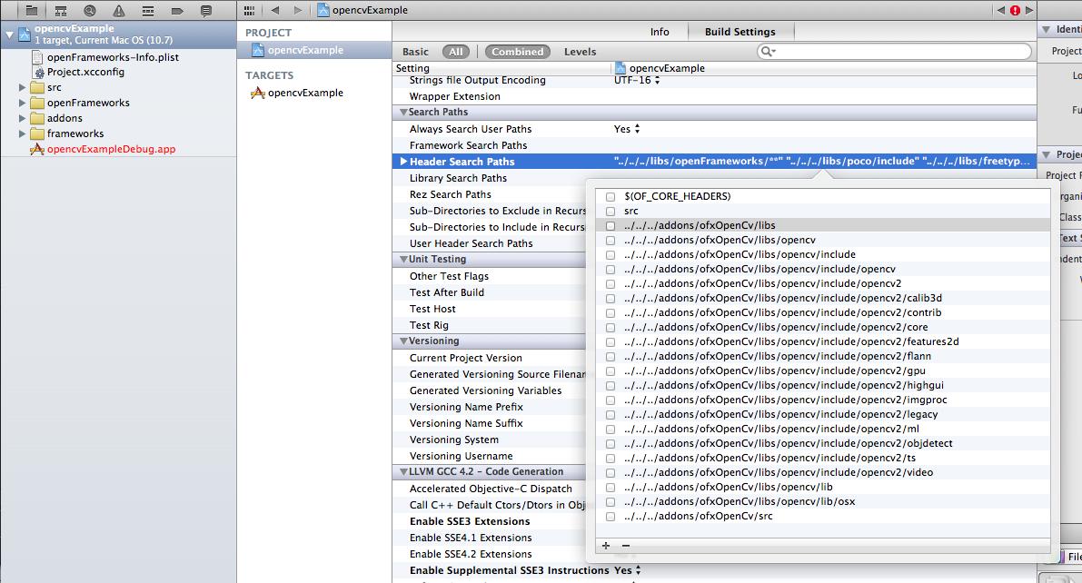 The ofxOpenCv build settings