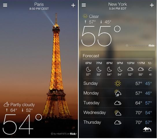 Yahoo! Weather App Released for IPhone with Amazing UI