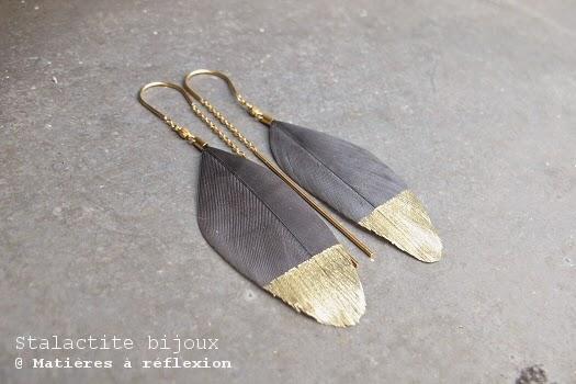 Boucles d'oreilles plume Stalactite bijoux