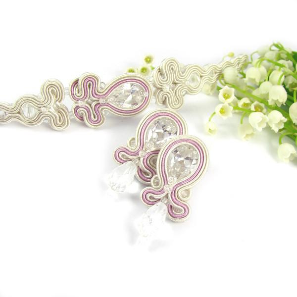 Biżuteria sutasz do ślubu, ivory i pudrowy róż