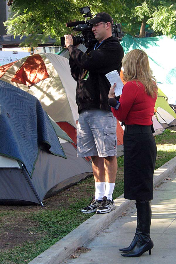 Occupy Los Angeles - a television news crew