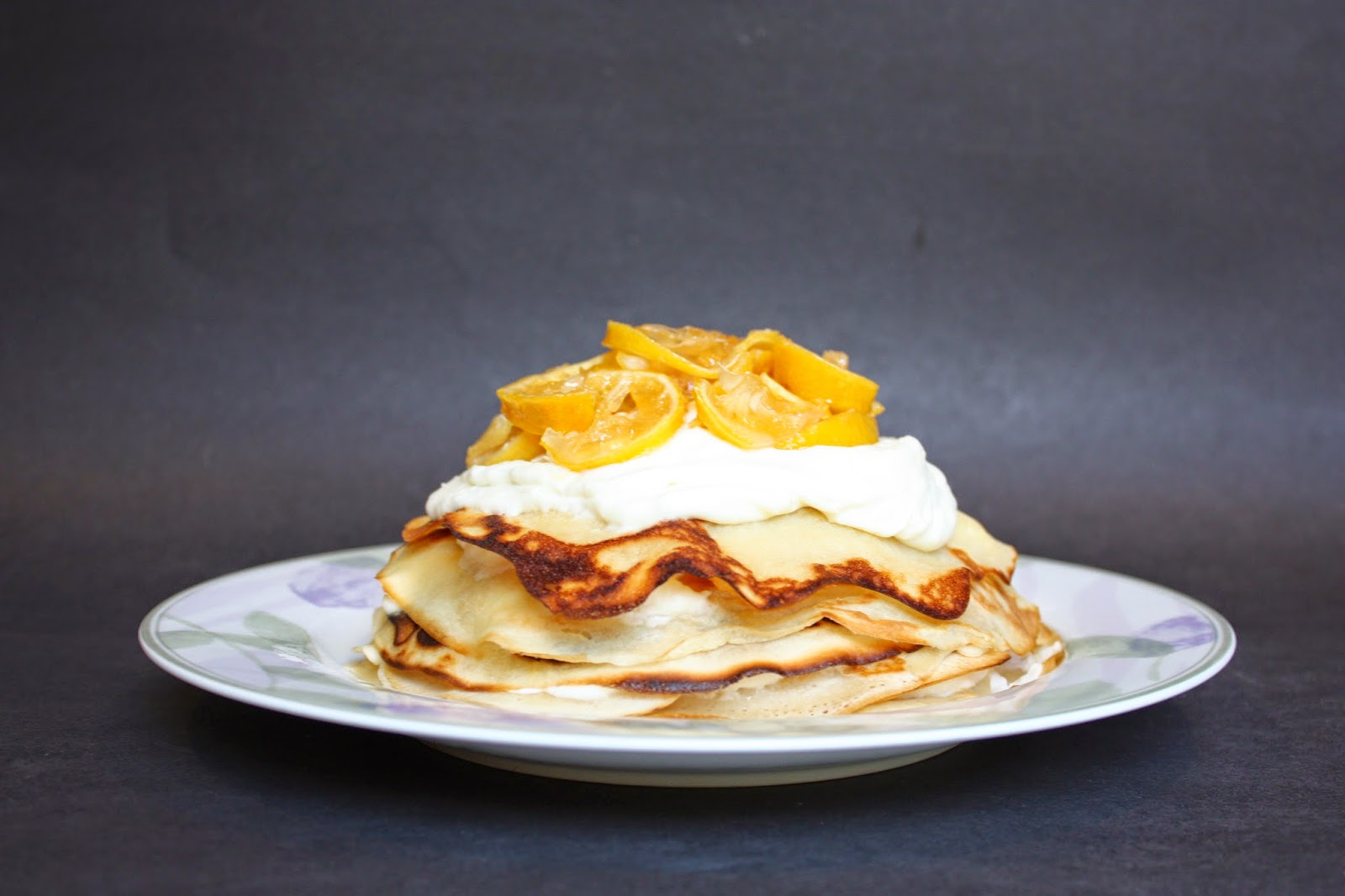 vegan meyer lemon crepe cake with homemade candied lemons