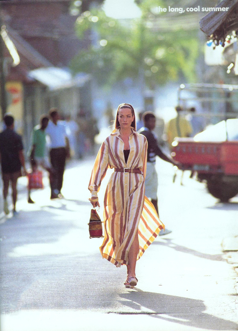Tatjana Patitz wearing Alaia shirtdress in The long, cool summer / Vogue US July 1992 (photography: Hans Feurer) / wardrobe essentials / history of shirtdress / shirtwaist dress story / via fashioned by love british fashion blog