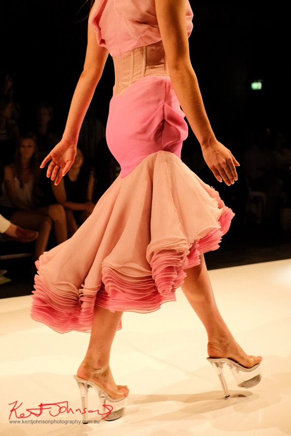 William Utama, pink  and peach ruffled evening dress detail -  New Byzantium : Raffles Graduate Fashion Parade 2013 - Photography by Kent Johnson.
