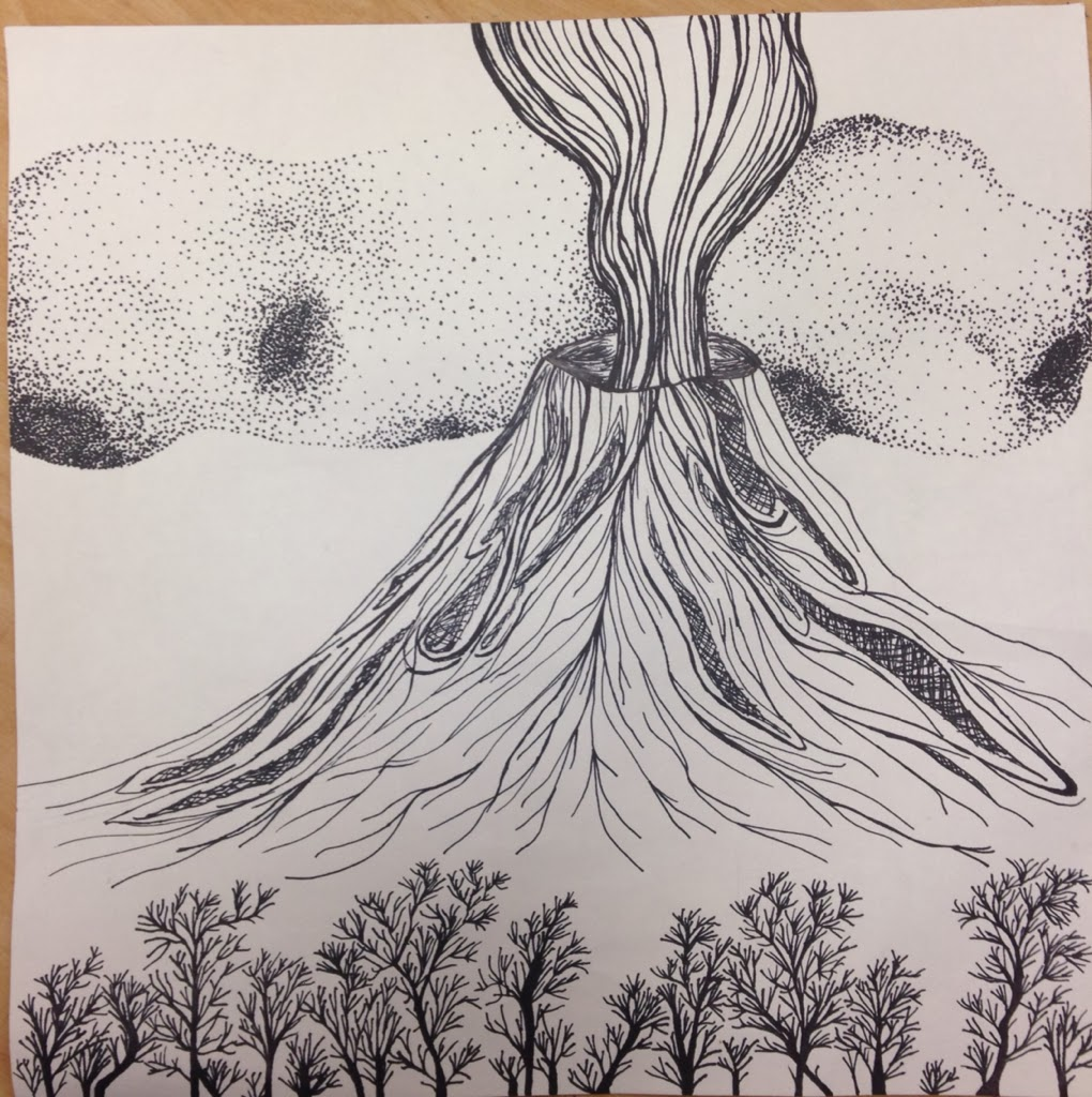 Line Drawing Volcano : Hannah s artwork scientific and contrast drawing
