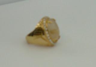 Batu Natural Serat Cendana emas 19x14x6 mm Ring kuningan sari Mewah 18 Rp.375.000