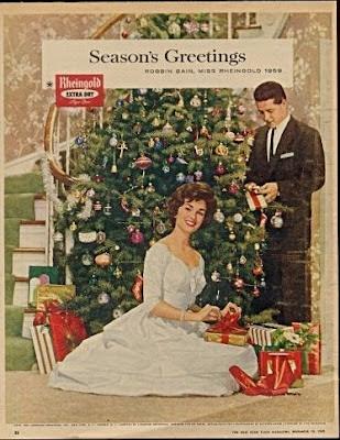 Vintage Advertising Miss Rheingold 1959 Christmas Ad