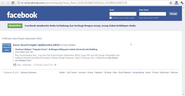 Backlink dari Halaman Permalink Tautan di Facebook Page