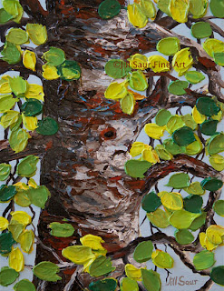 trees in art, trees on canvas, Jill Saur