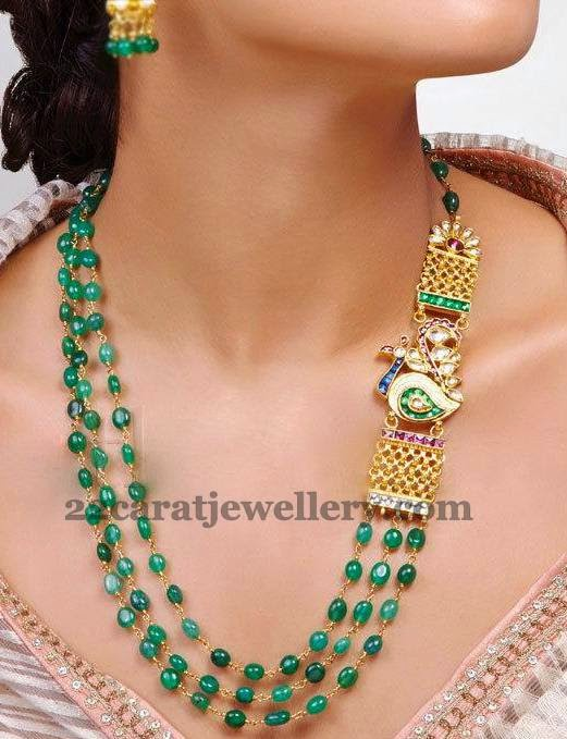 Emerald Beads Set with Peacock Motif