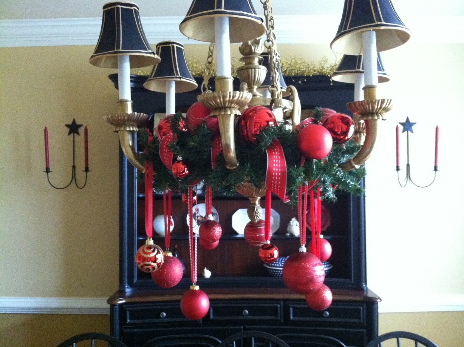 I Hung Various Size Red Ornaments At Diffe Lengths From Ribbons Also Added A Wider Ribbon And More In The Garland